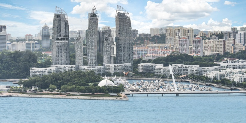 Aerial view of Luxury yacht in Keppel Bay at Singapore